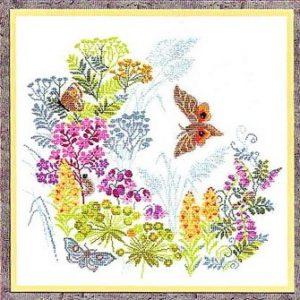 Схема вышивки Цветы и бабочки