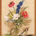 Схема вышивки Цветы и птичка