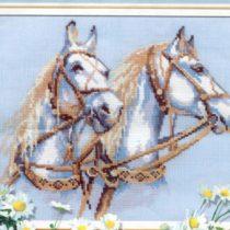 Схема вышивки Белые лошади
