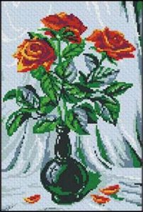 Схема вышивки Красные розы в вазе