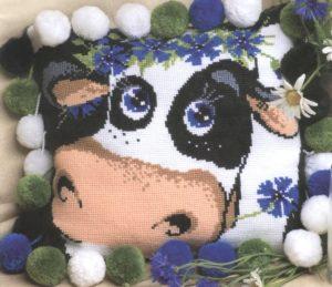 """Схема вышивки Подушка """"Корова"""""""