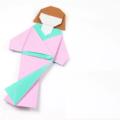 Схема оригами Японская кукла в кимоно из бумаги