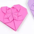 Схема оригами Красивое сердце с цветком из бумаги