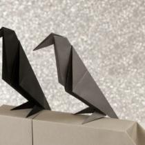 Схема оригами Сидящая ворона (коллекция: Птицы)