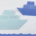 Схема оригами Плоский трехъярусный корабль из бумаги