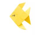 Схема оригами Плоская Рыбка из бумаги для начинающих