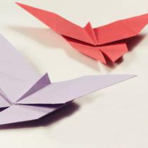 Схема оригами Большая бабочка из бумаги