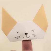 Схема оригами Мордочка кошки из бумаги (кукла-игрушка на палец)