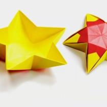 Схема оригами Звездочка - ваза плоская из бумаги для конфет