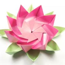 Схема оригами Цветок Лотоса с листьями (коллекция: Цветы)