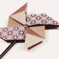 Схема оригами Вертушка из бумаги (Ветерок)