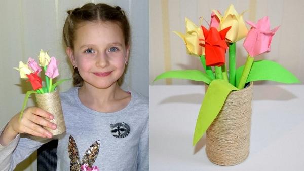 Тюльпаны Оригами. Подарок Маме К 8 Марта Своими Руками. Мастер regarding 75 Потрясающие Поделки На 8 Марта Своими Руками Мастер Класс - Goodhog
